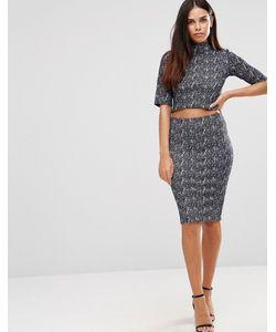 TFNC | Фактурное Облегающее Платье С Высокой Горловиной