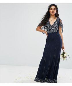 Amelia Rose | Платье Макси С Кейпом С Отделкой И Рельефным Краем