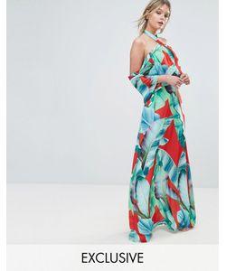 Every Cloud | Платье Макси С Оборками И Пальмовым Принтом