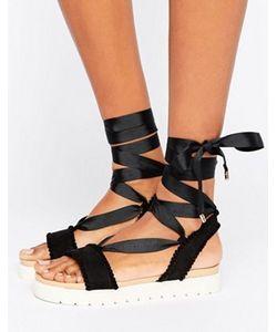 MISS KG | Dakota Pom Pom Tie Up Flat Sandals