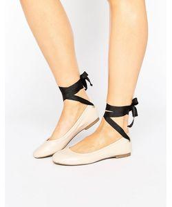 Miss Selfridge | Contrast Tie Up Ballet Flat