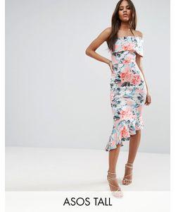 ASOS TALL | Платье Миди На Одно Плечо С Цветочным Принтом И Баской