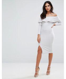 MISSGUIDED | Платье Миди С Открытыми Плечами Оборкой И Разрезом
