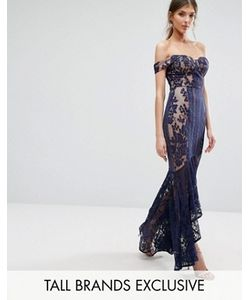 Jarlo Tall | All Over Lace Off Shoulder Fishtail Maxi Dress