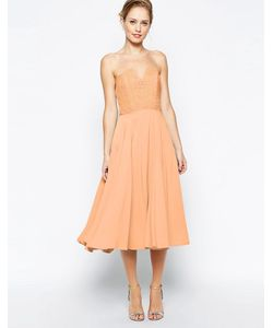 JARLO | Платье Миди С Кружевным Лифом Violetta Оранжевый