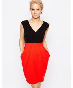 Closet London   Платье 2-В-1 С Контрастной Юбкой Closet Красный