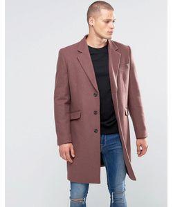 Asos | Полушерстяное Розовое Пальто Розовый