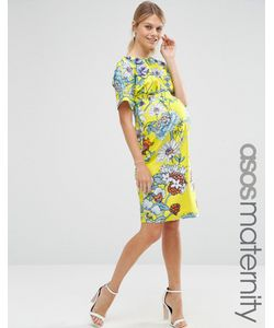 ASOS Maternity | Wiggle Dress With Bright Floral Print Мульти