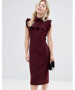 Alter | Платье-Футляр С Оборкой На Кокетке Красный