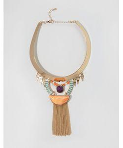 NYLON | Эффектное Ожерелье С Бахромой Золотой