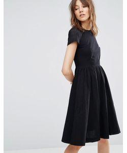 YMC   Короткое Приталенное Платье С Перфорацией На Рукавах Черный