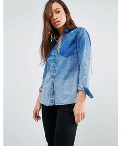 BLANKNYC | Джинсовая Рубашка С Необработанным Краем И Потертостями Blank Nyc Синий
