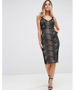 Jessica Wright   Платье Миди На Двойных Бретельках Черный