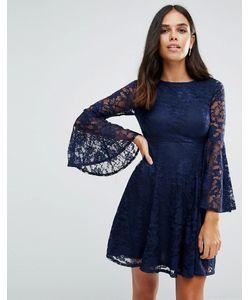 Jessica Wright   Короткое Приталенное Платье С Длинными Рукавами Темно-Синий