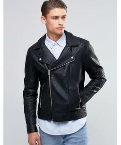 Esprit | Байкерская Куртка Из Кожзаменителя Черный