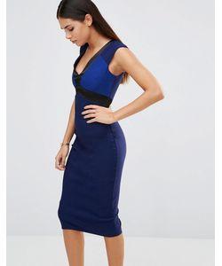 Vesper | Платье-Футляр С Атласной Отделкой Синий