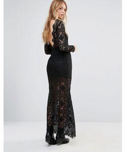 ebonie n ivory | Кружевное Платье Макси С Глубоким Вырезом Сзади