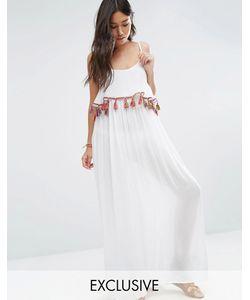 Akasa | Пляжное Платье Макси С Кисточками И Помпонами Белый