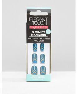 ELEGANT TOUCH   Накладные Ногти Для Быстрого Маникюра Teal Deco Синий