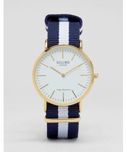 Reclaimed Vintage | Часы С Белым Циферблатом И Парусиновым Ремешком В Полоску