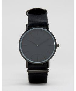 Reclaimed Vintage | Часы С Черным Парусиновым Ремешком Черный