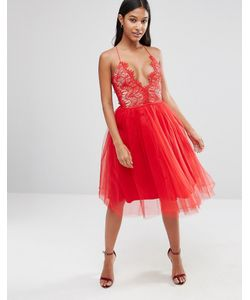 Rare | Платье Миди С Юбкой Из Тюля London Красный
