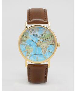 Reclaimed Vintage | Классические Часы С Принтом Карта Мира Коричневый