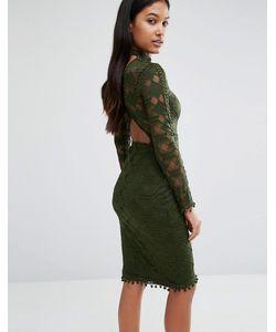 Rare | Кружевное Облегающее Платье С Открытой Спинкой London Зеленый