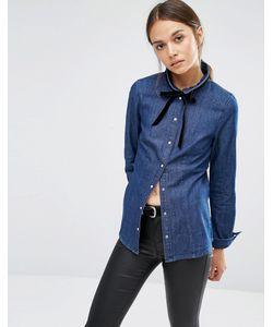 Vero Moda | Джинсовая Рубашка С Бантиком Темно-Синий