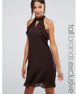 True Decadence Tall | Цельнокройное Платье С Оборками На Рукавах Коричневый