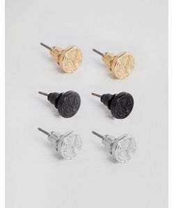 Chained & Able   Набор Из 3 Пар Сережек-Гвоздиков С Логотипом