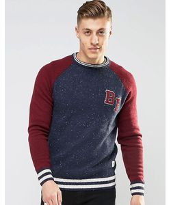 Bellfield | Baseball Style Knitted Jumper Темно-Синий