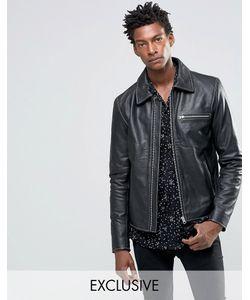 Black Dust | Черная Кожаная Куртка С Молниями Черный