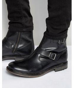 Base London | Кожаные Байкерские Ботинки Zinc Черный