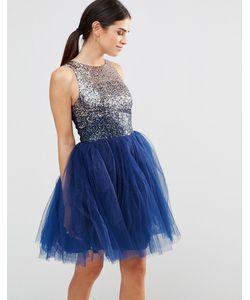 Laced In Love | Платье Для Выпускного С Декоративной Отделкой Темно-Синий
