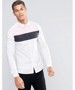 Asos | Рубашка Скинни Со Вставкой Белый