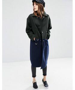 Asos | Oversize-Пальто В Стиле Колор Блок Из Смешанной Шерсти С Dобразными Кольцами