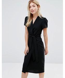 Alter | Платье Миди С Запахом Черный