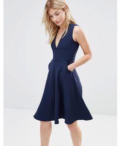 Alter | Платье С Отделкой Рюшами На Карманах Темно-Синий