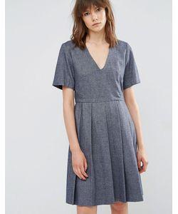 YMC | Короткое Приталенное Шерстяное Платье С Плиссировкой Синий
