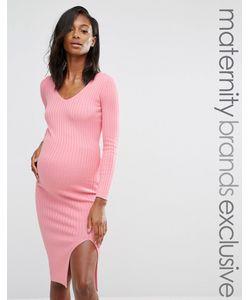 Missguided Maternity   Облегающее Платье Миди С Разрезом Сбоку Эксклюзивно Для