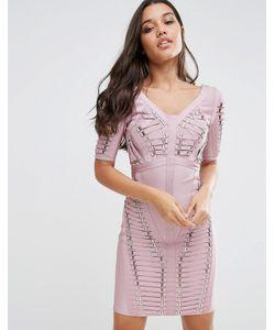 WOW Couture | Бандажное Платье Розовый