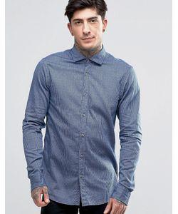 SCOTCH & SODA | Темно-Синяя Меланжевая Рубашка Слим В Тонкую Полоску