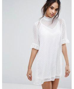 MISSGUIDED | Цельнокройное Платье Из Ткани Добби С Высоким Воротом И Оборками