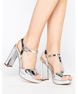 Head Over Heels | Сандалии Цвета Металлик На Платформе И Каблуке By