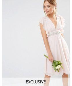 TFNC | Платье Миди С Декорированной Талией И Расклешенными Рукавами Wedding