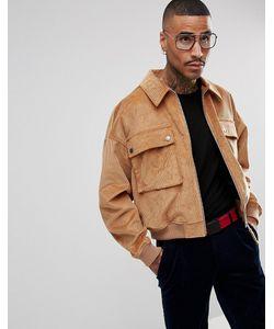 Asos | Свободная Вельветовая Куртка Харрингтон Светло-Коричневого Цвета