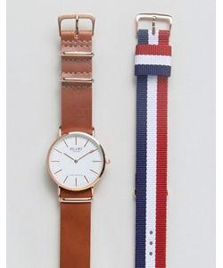 Reclaimed Vintage | Подарочный Набор С Часами И Сменными Ремешками Из Кожи И Парусины