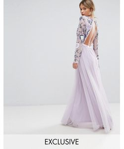 Frock and Frill | Платье Макси С Вышивкой Юбкой Из Тюля И Открытой Спиной Frock