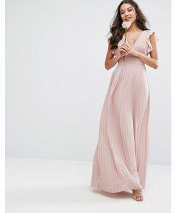 TFNC | Платье Макси С V-Образным Вырезом И Рукавами Рюшами Wedding